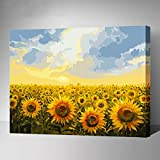 MADE4U [Gradens Series 1] [20''] [Wood Framed] Paint by Numbers Kit with Brushes and Paints (Sunflower G135)