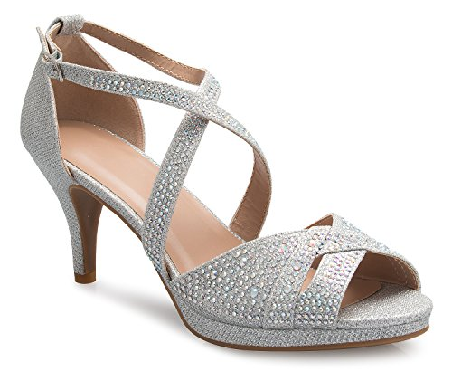 OLIVIA K Women's Sexy Strappy Glitter Rhinestone Open Toe Heel Sandals - Adjustable Buckle