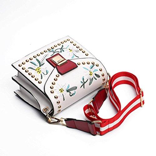 Shoulder Style White Ethnic Handbag Fashion Mini Oblique Bag Single Embroidery KIMODO WcUSv1CU