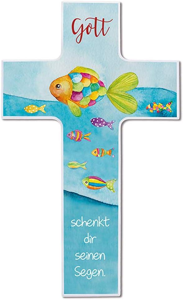 Fritz Cox® – Cruz infantil – 'Dios te regala su bendición' – Regalo cristiano para niños y precioso en la habitación de los niños 20 cm