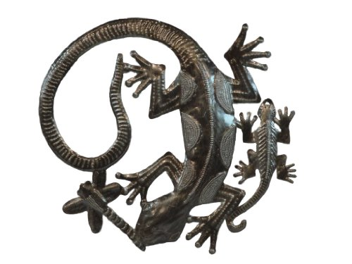 Handmade Haitian Metal Gecko Family Artwork