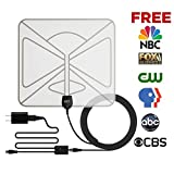 GJT Amplified TV Antenna HDTV Digital Antenna 50 Miles Range Indoor High Reception with Detachable Signal Booster for Free Channel,10ft High Performance Coax Cable with Adapter Transparent