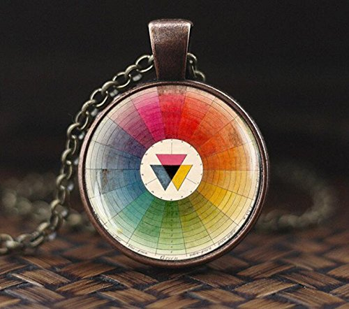 Vintage Color Wheel Necklace, Artists Pendant Color Wheel Necklace, gift for Art Teachers Students, Retro French color wheel