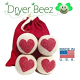 Wool Dryer Balls - HEART Designs -Handmade in the USA - Sets of 3, 4, 5 or 6 - XL - Extra Large - 100% Natural Premium Wool - Organic Replacement for Dryer Sheets, Ecofriendly Baby care Gift set
