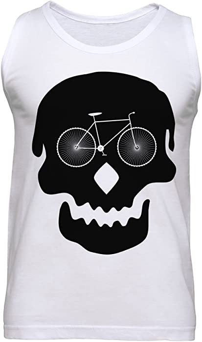 14b743e7d470ea Skull with Bicycle for It s Eyes Creative Design I Love Cycling Men s Tank  Top Small White