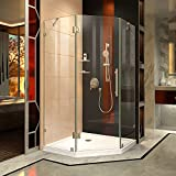 DreamLine Prism Lux 34 5/16 in. D x 34 5/16 in. W, Frameless Hinged Shower Enclosure, 3/8'' Glass, Brushed Nickel Finish