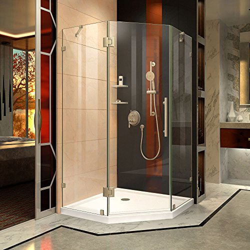 DreamLine Prism Lux 34 5/16 in. D x 34 5/16 in. W, Frameless Hinged Shower Enclosure, 3/8'' Glass, Brushed Nickel Finish by DreamLine