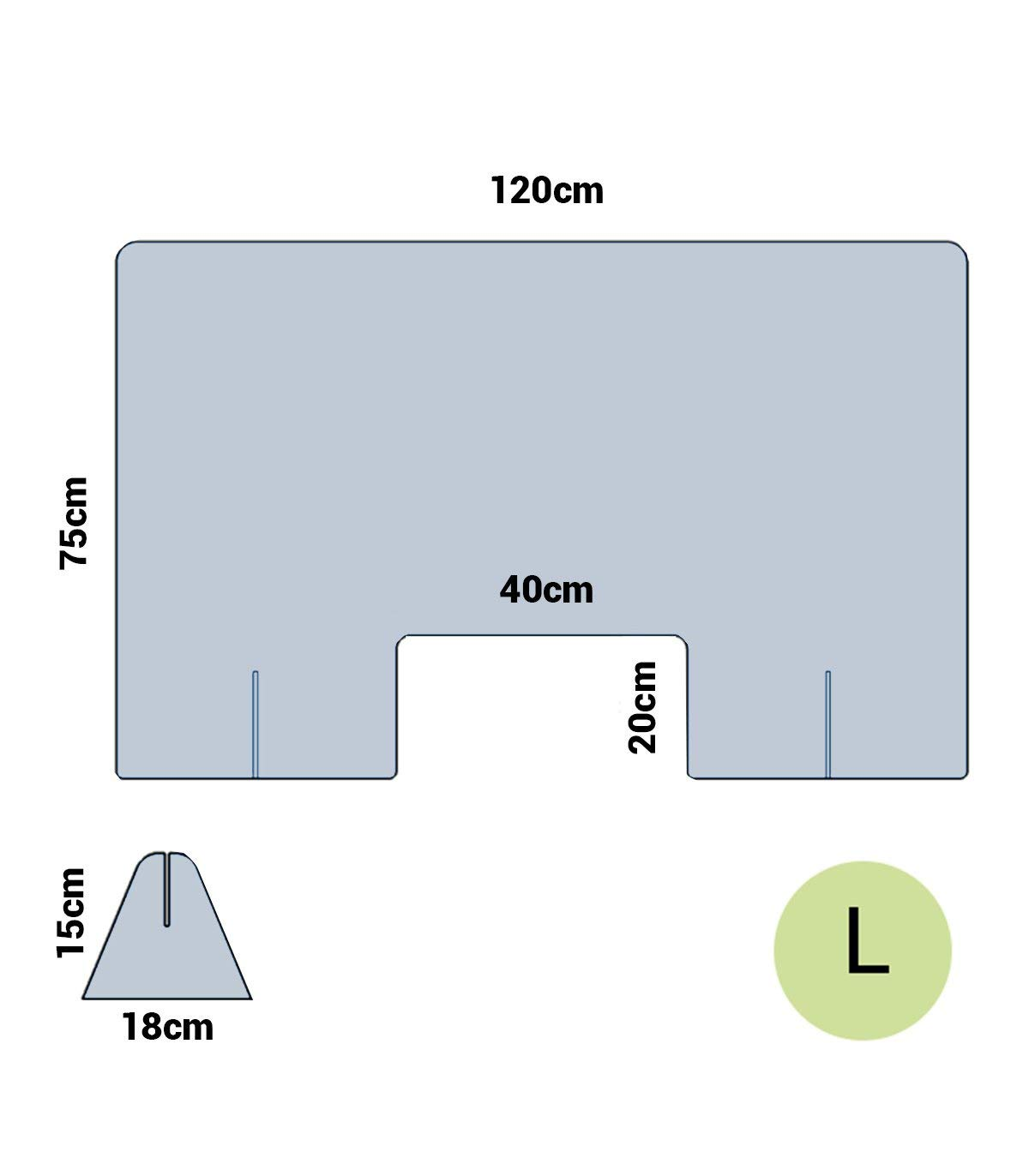Mampara anticontagio de metracrilato a medida 65 cm ancho, Sin Ventana