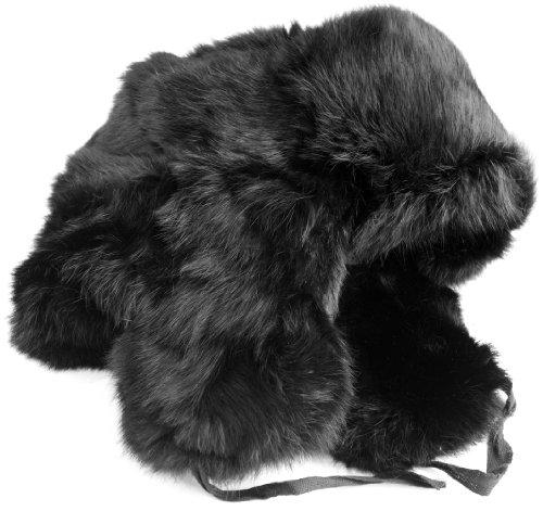[Rabbit fur ushanka winter hat Black-64 with Soviet Red Star insignia] (Black Russian Male Adult Costumes)