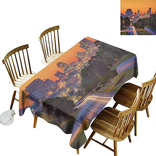 kangkaishi Rectangular tablecloths in a Variety of Colors and Sizes Can be Used for Parties Skyline of Columbia City South Carolina Main Street Urban Scene W60 x L102 Inch Orange Dark Green Blue
