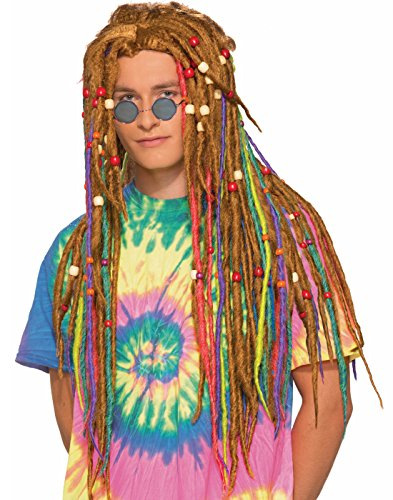 Forum Men's Generation Hippie Rainbow Dreads Wig, Multi, One Size -