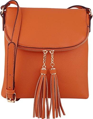 B BRENTANO Vegan Medium Flap-Over Crossbody Handbag with Tassel Accents (Orange(N))