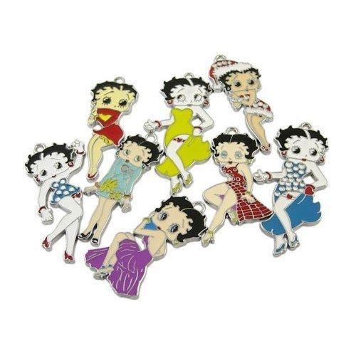 Paquet 5 x Mixte Émaillée Alliage 40-50mm Pendentif (Betty Boop) - (HA08200) - Charming Beads