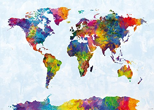 Map Of The World - Giant XXL Poster / Print (Watercolor Art By Michael Tompsett) (Size: 55