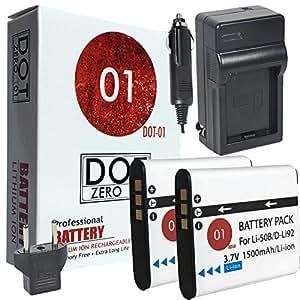2x DOT-01 Brand 1500 mAh Replacement Olympus LI-50B Batteries and Charger for Olympus SZ-16 Digital Camera and Olympus LI50B