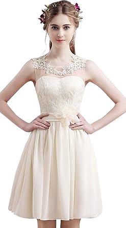 18e8e07e7 vimans Women s Elegant Short Light Champagne Scoop Lace Prom Evening ...