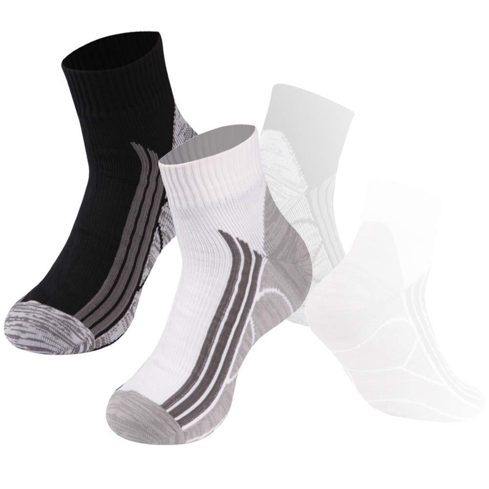 Ankle Athletic Socks, RANDY SUN 100% Waterproof Socks Breathable High Visibility Unisex Running Hiking Socks, 2 Pairs-Black&White Large
