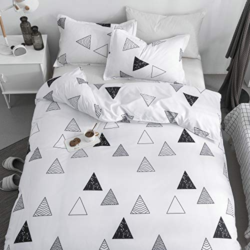 KFZ Triangle Geometric Black White Duvet Cover Set, 3Piece Twin Bedding Set with 1 Comforter Case (Without Duvet Insert),2 Pillowcases, Breathable Bed Set for Kids Teens (Twin Bedding Crib Sets And Matching)