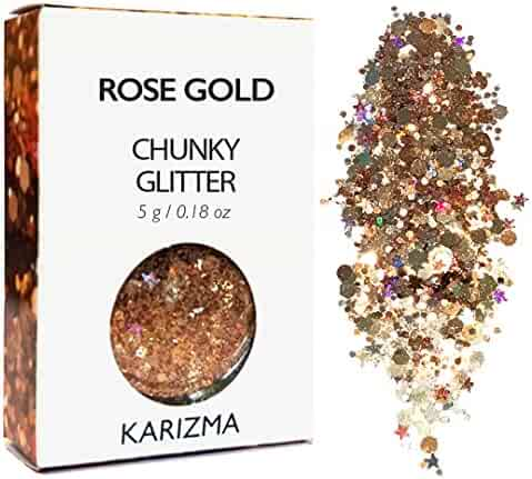 Rose Gold Chunky Glitter ✮ KARIZMA BEAUTY ✮ Festival Glitter Cosmetic Face Body Hair Nails