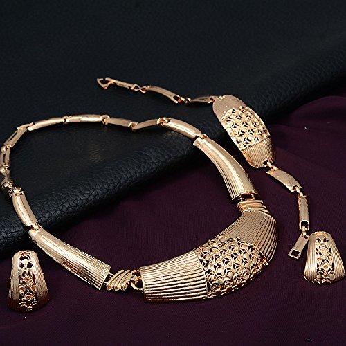 4 En 1 Or Fleur En Alliage Collier Chunky Boucles D'oreilles Anneau De Bijoux Bracelet Ensemble