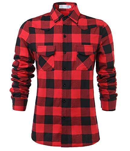 Tribear Mens Casual Button Down Long Sleeve Plaid Shirts X-Large Red - Red Flannel Shirt For Men