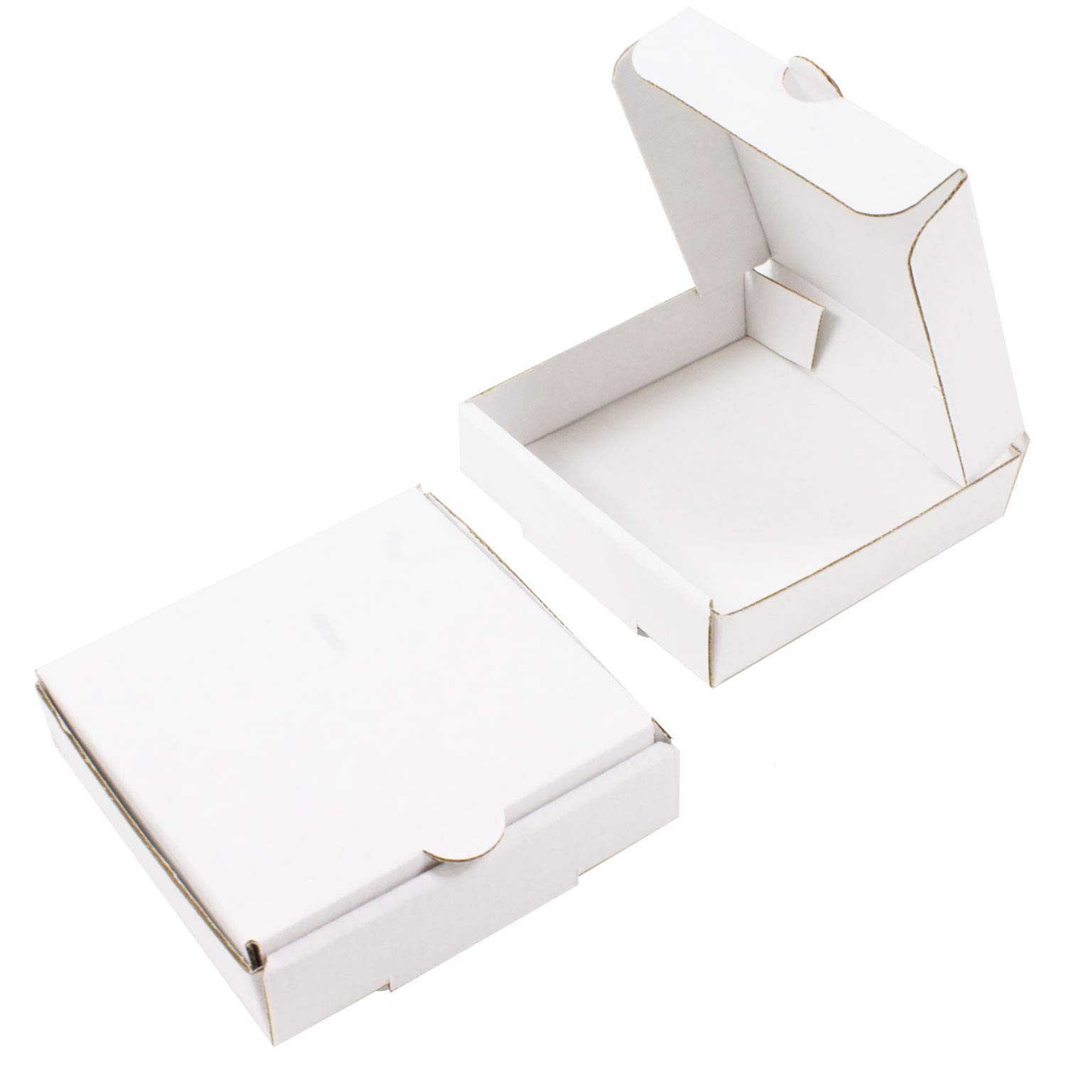 """4"""" White Mini Pizza Boxes (8 Pack) - Chica and Jo Brand - Square Flat Cardboard Boxes 4x4 Inch (8)"""