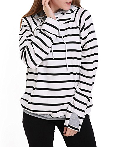 StyleDome Women's Double Hooded Stripe Pullover Funnel Neck Banded Bottom Casual Hoodies Sweatshirts White L