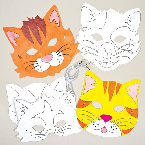 [Cat Animals Color-in Card Mask Craft Kits for Children to Make Decorate and Wear Fancy Dress Party (Pack of] (Cat Masks For Kids)