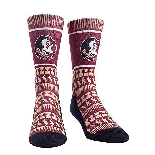 Rock Em Elite Florida State Seminoles Tribal Pattern NCAA Licensed Crew Socks (L/XL)