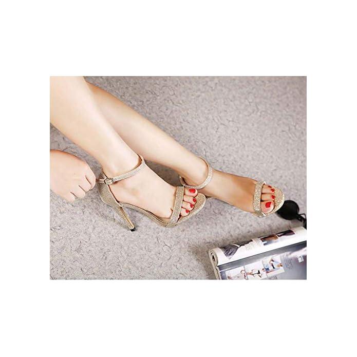 Ghfjdo Donne Cinturino Alla Caviglia Sandali Scarpe Open Toe Estate Moda Nuovo Tacco Alto Matrimonio Partito Sera Dimensioni 35-43 gold 37eu