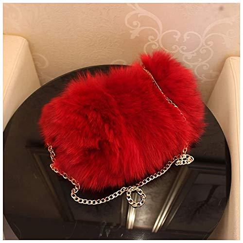 Womens Shoulder Bags Fashion Real Fox Fur Women Messenger Bag Winter New Women Chain Shoulder Bag Luxury Fur Handbag Large Lady Clutch Bag Red