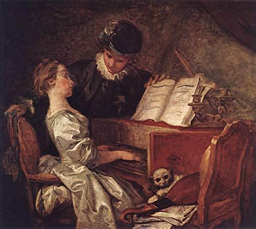 最安値 手描き-キャンバスの油絵 - Music Lesson x Jean 48 Honore Fragonard 芸術 作品 作品 洋画 ウォールアートデコレーション -サイズ10 B07HGR2H4G 48 x 48 インチ 48 x 48 インチ, 名前シールのねむっこ:f7685405 --- arianechie.dominiotemporario.com