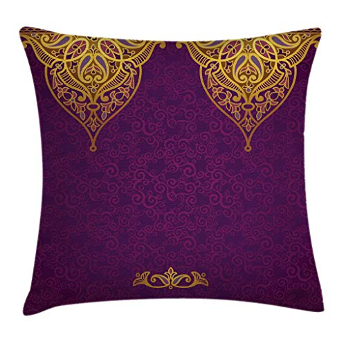 (Ambesonne Purple Throw Pillow Cushion Cover, East Oriental Royal Palace Patterns with Bohemian Style Art Traditional Wedding, Decorative Square Accent Pillow Case, 16 X 16 Inches, Purple Yellow)