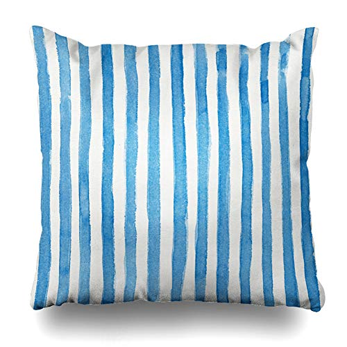 Ahawoso Decorative Throw Pillow Cover Dye Color Watercolor Striped Blue Vivid Stripes Water Abstract Ribbon Splash Aqua Modern Zippered Design 16