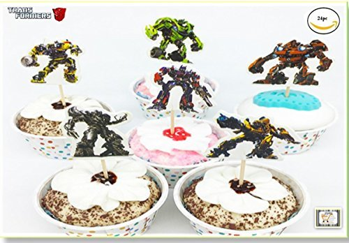 Transformers Cupcake (Transformer Cupcake toppers and picks 24pcs, Happy Birthday Party Party Favors for Kids Cake Accessory Decoration Supplies, Serve 24)