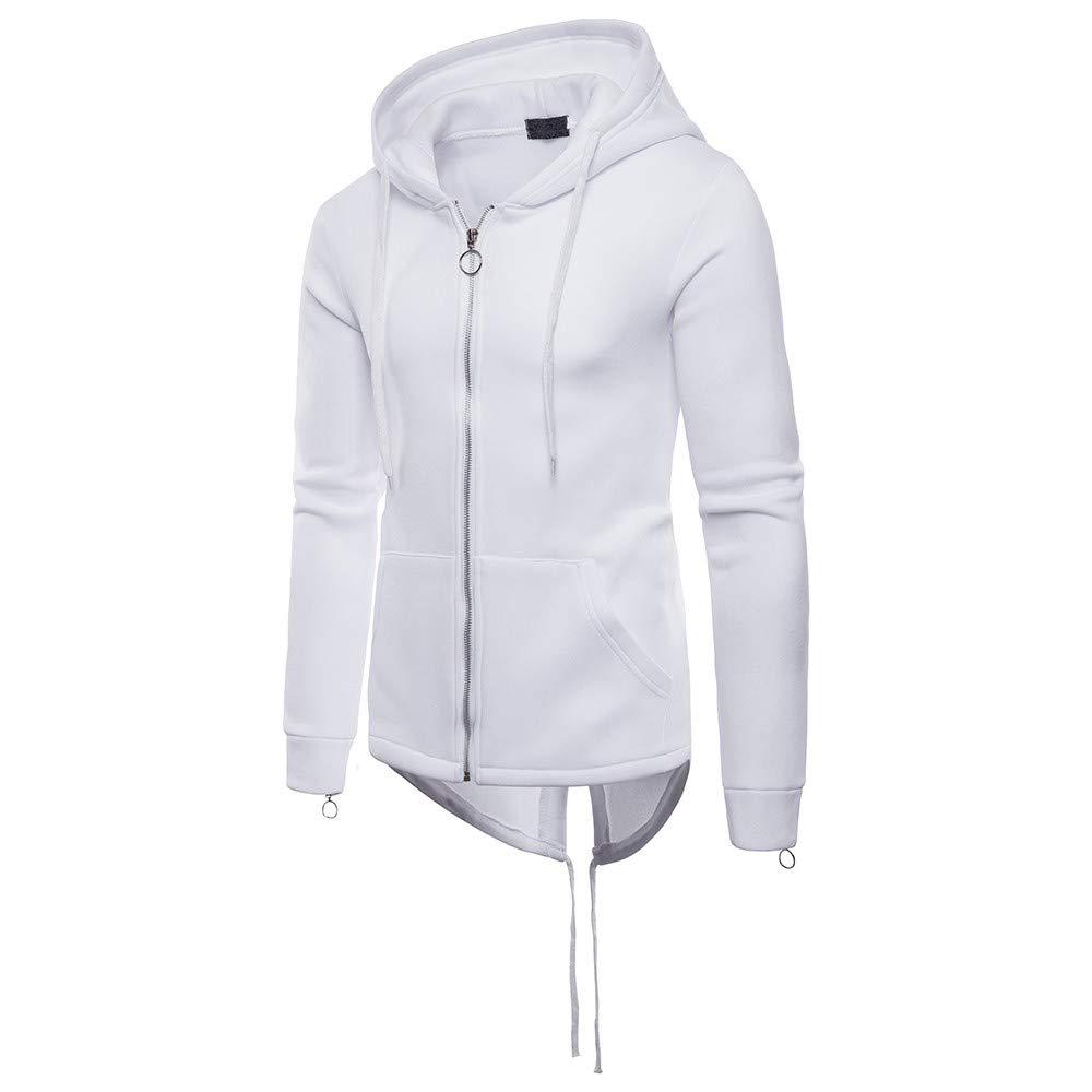 kemilove Mens Hipster Hip Hop Pullover Longline Side Zipper Long Sleeve Hooded T Shirt