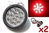 "2 Red 4"" Round LED Brake/Stop/Turn/Tail Light Kit with Grommet Plug Clear Lens KL-25108C-RK"