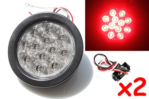 2-Red-4-Round-LED-BrakeStopTurnTail-Light-Kit-with-Grommet-Plug-Clear-Lens-KL-25108C-RK