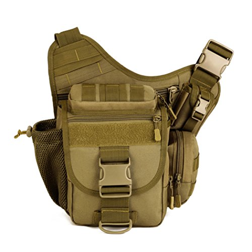 X-Freedom Military Style SLR Camera Bag Pack Multi-functional Tactical Messenger Bag Crossbody Shoulder Bag Backpack For hiking camping cycling, Dark Brown (Tactical Camera)