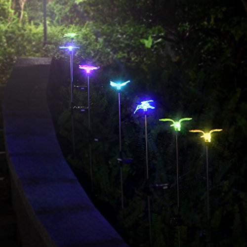 Oxyled solar garden lights 3 pack solar garden stake - Decorative garden lights solar powered ...