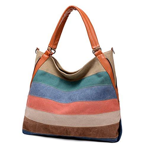 Women's Leather Canvas Shoulder Handbag Striped Large Capacity Crossbody Bag