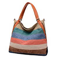 Women's Leather Canvas Shoulder Handbag Striped Large Capacity Crossbody Bag