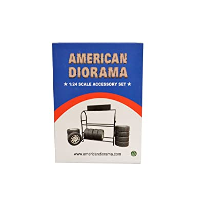 American Diorama Metal Tire Rack with Rims and Tires for 1:24 Scale Models 77530: American Diorama: Toys & Games