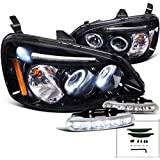 Glossy Black Civic Halo Projector Headlights+LED DRL Bumper Fog Lamps