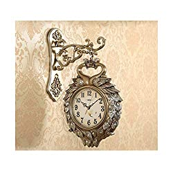 JSFQ European Wall Clock Living Room Creative Mute Double-Sided Clock Atmosphere Peacock Personality Simple Modern Garden Two-Sided Hanging Table (Color : B)