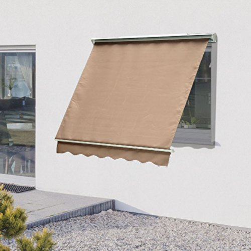 Brown Artificial Shade (6FT Drop Arm Manual Door Window Awning Canopy Shelter Cover Sun Shade Brown)