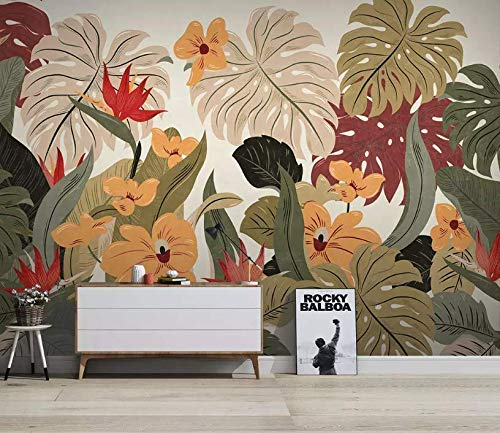 Murwall Retro Palm Leaf Wallpaper Tropical Leaves Wall Mural Colorful Tropical Plants Wall Art Exotic Home Decor Living Room Bedroom
