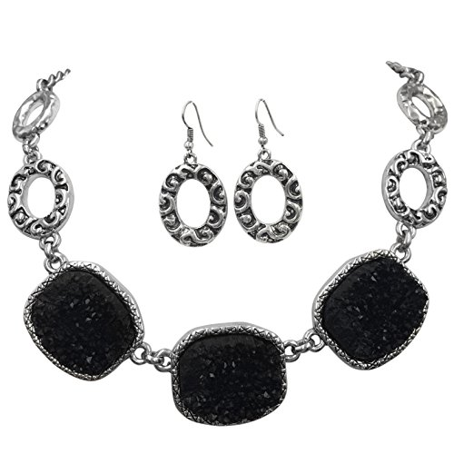 Imitation Druzy Stone Abstract Ovals Swirls Boutique Style Necklace & Dangle Earrings Set - Assorted Colors (Black) ()