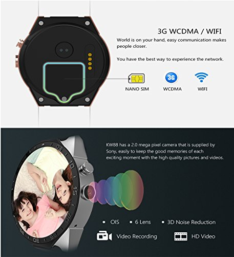 3G Smart Watch, Android 5.1 OS, Quad Core 2.0MP Camera Bluetooth Nano SIM Card Soket WiFi GPS Heart Rate Monitor (Black+Silver) by Kingwear (Image #5)