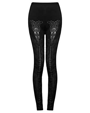 e4dc67e7ffb793 Punk Rave Opium Leggings Black Gothic Lace Steampunk Vintage: Amazon.co.uk:  Clothing